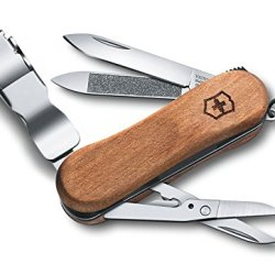 Victorinox Pocket Knife, Nail Clip Wood 580, Walnut Handle 0.6461.63