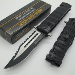 Tac-Force Assisted Opening Linerlock Belt Clip Sawback Bowie Black A/O Speed Rescue Glass Breaker Knife
