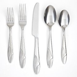 Farberware Licorice Sand 20-Piece Flatware Set, 18/0 Stainless Steel