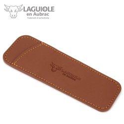 Laguiole En Aubrac Pca12 Brown Leather Pocket For 11/12 Cm Knives - Knife Case - Quality Sheath