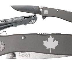 Canadian Flag Maple Custom Engraved Sog Twitch Ii Twi-8 Assisted Folding Pocket Knife By Ndz Performance
