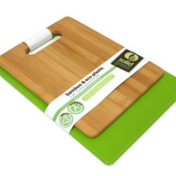 Solid Green 2-Piece Bamboo And Plastic Cutting Board Set