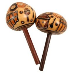 Carved Pair Gourd Stick Maracas Hand Made Fair Trade Peru Musical Instrument