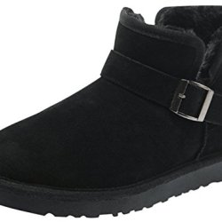 Rock Me Men'S Soft Wool Thick Ankle Buckle Snow Boots Gentle I(10 D(M) Us, Black)