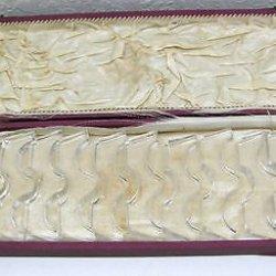 Set Of 12 Vintage Crystal Cut Glass Knife Rests Box
