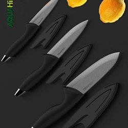 Aqua Hill 6-Piece Ceramic Knives With Sheath Including 6'' Chef'S Knives, 5'' Utility Knives And 4'' Paring Knives
