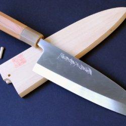 Yoshihiro Shiroko High Carbon Steel Honyaki Deba Japanese Fillet Chef Knife 7 Inch (180Mm) Yew Handle