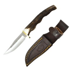 Muela 7A, 7.5-Inch Fixed Blade Bowie Knife, Grooved Stag Handle