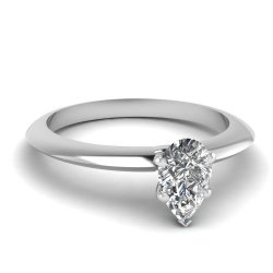 Fascinating Diamonds 0.55 Ct Pear Shaped Diamond Designer Knife Edge Solitaire Engagement Ring 14K Gia