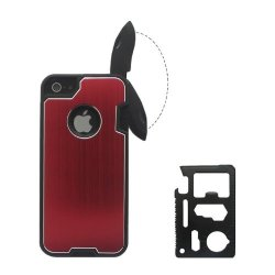 B.N.G Fashion Design Metal Red Skin Cover With Knife Case For Iphone 5/5S + 1 Camping Multifunctional Knife + 1 Small Gift