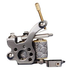 High Quality Machine Handmade Finest Cast Iron 10 Coil Wrap Tattoo Gun With Tips - Hawk Design