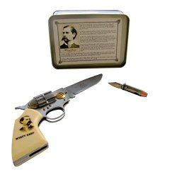 Wyatt Earp Pistol And Bullet Shaped Pocket Knife Set In Gift Box