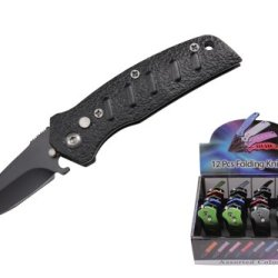 12 Piece Assorted Colors Mini Automatic Knives With Push Button And Safety Lock Comes With Display Case Yc-R-Fk-412
