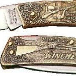 Winchester Knives 3In, 1 Blade Lockback Commemorative Knife W/ Cast Bronze Handle For W 15 1992-2