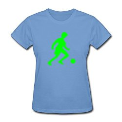 Womens Football Player O Neck Tshirts Size S Color Sky
