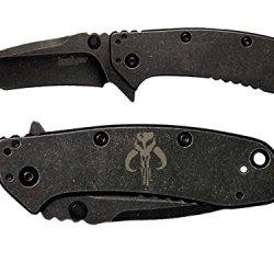 Mandalorian Engraved Kershaw Cryo Ii Tanto Blackwash 1556Tbw Folding Speedsafe Pocket Knife By Ndz Performance