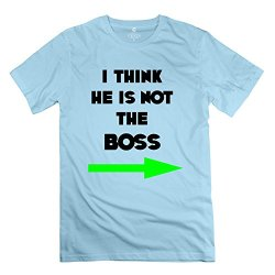 Think He Boss Boss Boss Thing Arrow Funny Kidding Brand New Man T-Shirts Size S Color Skyblue