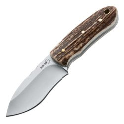Boker Plus 02Bo288 Fitz, Horn/Stag Handle, Satin Drop Point Plain W/Sheath