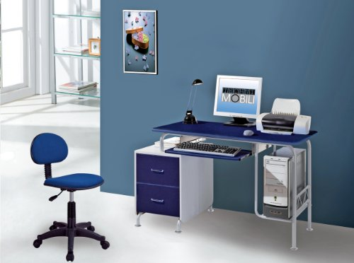 Picture of Comfortable Mad Tech 30x23x52 Drk Blue & Silver Mdf Panel & Steel Frame Computer Office Desk Table (B004W0MDRC) (Computer Desks)