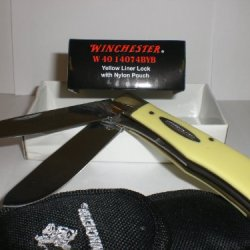 Winchester Yellow Liner Lock W/ Pouch W40 14074Byb New In Box