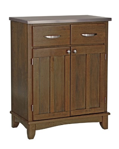 Image of Server Sideboard with Stainless Steel Top in Cottage Oak Finish (VF_HY-5001-0063)