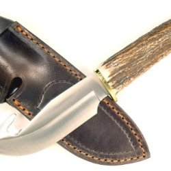 Ruko 4-1/2-Inch Blade Gut Hook Skinning Knife With Genuine Deer Horn Handle And Leather Sheath