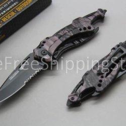 Assisted Open Tac Force Linerlock Knife Bottle Opener Glass Breaker Black Forest Camo Handle