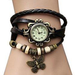 Tricess Women Quartz Fashion Weave Wrap Around Leather Bracelet Wrist Watch