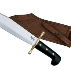 Case Cutlery 00286 Bowie Knife With Fixed Stainless Steel Blade Genuine Leather Sheath Jet Black Synthetic