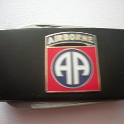 82Nd Airborne Division Black Stainless Steel Money Clip With Knife & Nailfile In Body Of Clip