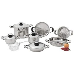 New 13Pc Stainless Steel Cookware Set Pots Pans Lids Stockpot Steamer Fry Basket