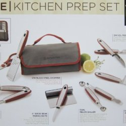 Wolfgan Puck 12 Piece Stainless Steel Kitchen Prep And Garnishing Set With Flodable Cloth Case (Red)