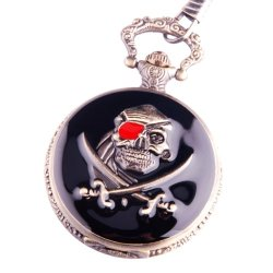 Pocket Watch Pirates Skull And Dagger With Chain Retro Steampunk Cosplay Full Hunter Black Case Pw-72