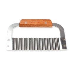 Generic Hardwood Handle Crinkle Wax Vegetable Soap Cutter Wavy Slicer Stainless Steel
