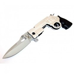 """New 9"""" Silver Gun Spring Assisted Knife With Lock The Bone Edge Collection Series With Belt Clip"""