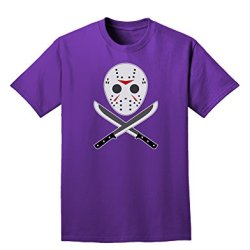 Scary Mask With Machete - Halloween Adult Dark T-Shirt - Purple - Xl