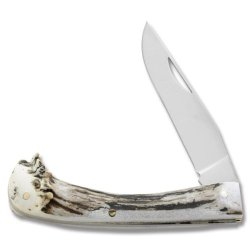 Silver Stag D2 Medium Notch Folder Crown Burr Antler Handles