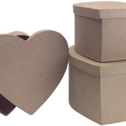 Dcc Paper Mache Heart Box, 9-3/4-Inch By 8-3/4-Inch By 8-Inch, Set Of 3