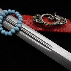 Longquan Sword Sale/Damascus Steel/Black Wood/Alloy Fitting/Swords Crafts/Taiji