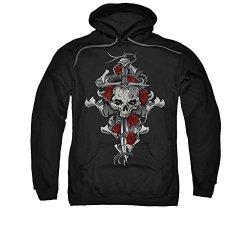 Lethal Threat Skull Rose Dagger Adult Sweatshirt Hoodie Medium Black