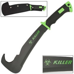 Mean Green Zombie Killer Apocalypse Bill Hook Chopping Rugged Machete Knife