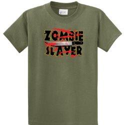 Zombie T-Shirt Zombie Slayer Machete Splatter-Military-Large