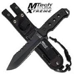 "Mtech Xtreme Mtx8098K Blade Black Fixed Blade Knife 12"" Overall"