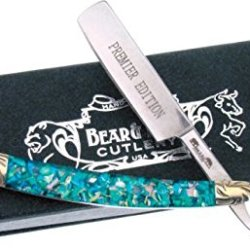 Frost Bear & Bull Razor Folding Knife, 2.75In, Razor Blade, Crackled Green Abalone Bb-148Abg