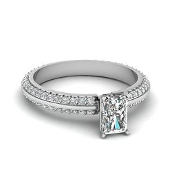 Fascinating Diamonds 1.15 Ct Radiant Cut Diamond Knife Edge Engagement Ring Pave Set Si1-F 14K Gia
