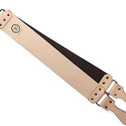 """30 Degree Thin Latigo Leather Strop, Metal Grip,3"""""""
