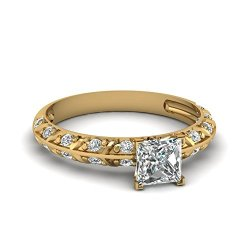 Fascinating Diamonds Crusted Knife Edge Engagement Ring Pave Set 1.50 Ct Princess Cut Vs1 Diamond Gia