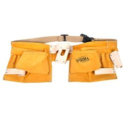Beige Genuine Suede Leather Double Pocket Tool Apron