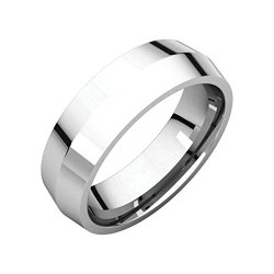 14Kt White 6Mm Knife Edge Comfort Fit Band