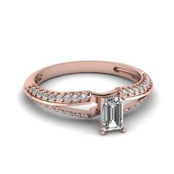 0.60 Ct Emerald Cut Si2-H Diamond Knife Edge Split Band Engagement Ring Pave Set 14K Gold
